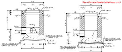 bản vẽ hố ga thoát nước thải bằng composite